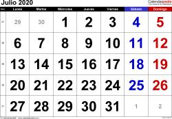 Calendario julio 2020, orientación horizontal, grandes cifras, en formatos Word, Excel y PDF