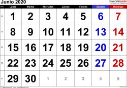 Calendario junio 2020, orientación horizontal, grandes cifras, en formatos Word, Excel y PDF