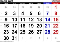 Calendario marzo 2020, orientación horizontal, grandes cifras, en formatos Word, Excel y PDF