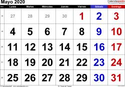 Calendario mayo 2020, orientación horizontal, grandes cifras, en formatos Word, Excel y PDF