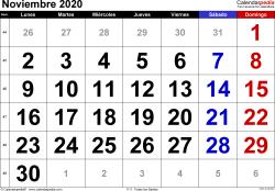 Calendario noviembre 2020, orientación horizontal, grandes cifras, en formatos Word, Excel y PDF