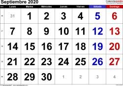 Calendario septiembre 2020, orientación horizontal, grandes cifras, en formatos Word, Excel y PDF