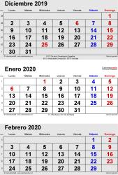Calendario de 3 meses de diciembre2019, enero2020 y febrero2020 in orientación vertical en formatos Word, Excel y PDF