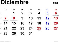 Calendario diciembre 2020, orientación horizontal, clásico, en formatos Word, Excel y PDF