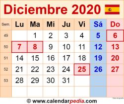 Calendario diciembre 2020 como una imagen en formato PNG