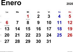 Calendario enero 2020, orientación horizontal, clásico, en formatos Word, Excel y PDF