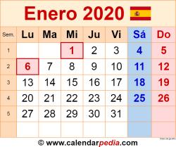 Calendario enero 2020 como una imagen en formato PNG