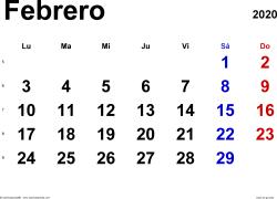 Calendario febrero 2020, orientación horizontal, clásico, en formatos Word, Excel y PDF