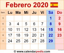 Calendario febrero 2020 como una imagen en formato PNG