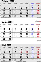 Calendario de 3 meses de febrero/marzo/abril 2020 in orientación vertical en formatos Word, Excel y PDF