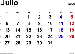 Calendario julio 2020, orientación horizontal, clásico, en formatos Word, Excel y PDF