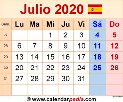 Calendario julio 2020 como una imagen en formato PNG