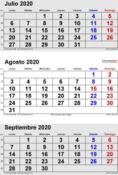 Calendario de 3 meses de julio/agosto/septiembre 2020 in orientación vertical en formatos Word, Excel y PDF