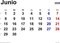 Calendario junio 2020, orientación horizontal, clásico, en formatos Word, Excel y PDF