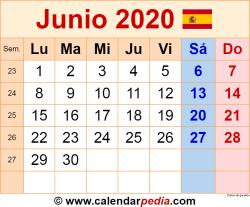 Calendario junio 2020 como una imagen en formato PNG