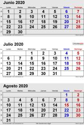 Calendario de 3 meses de junio/julio/agosto 2020 in orientación vertical en formatos Word, Excel y PDF