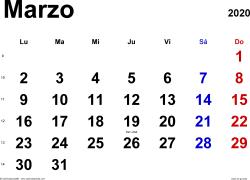 Calendario marzo 2020, orientación horizontal, clásico, en formatos Word, Excel y PDF