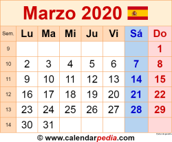 Calendario marzo 2020 como una imagen en formato PNG