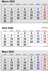 Calendario de 3 meses de marzo/abril/mayo 2020 in orientación vertical en formatos Word, Excel y PDF