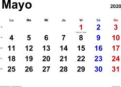 Calendario mayo 2020, orientación horizontal, clásico, en formatos Word, Excel y PDF