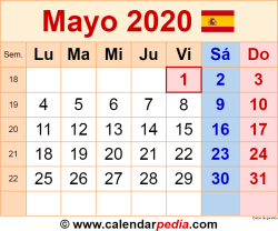 Calendario mayo 2020 como una imagen en formato PNG
