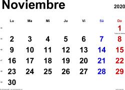 Calendario noviembre 2020, orientación horizontal, clásico, en formatos Word, Excel y PDF