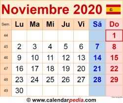 Calendario noviembre 2020 como una imagen en formato PNG