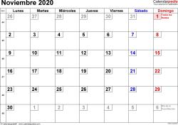Calendario noviembre 2020, orientación horizontal, cifras pequeñas, en formatos Word, Excel y PDF