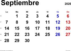Calendario septiembre 2020, orientación horizontal, clásico, en formatos Word, Excel y PDF