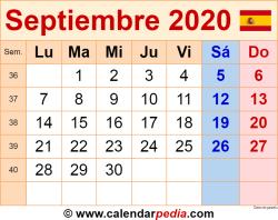 Calendario septiembre 2020 como una imagen en formato PNG