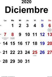 Calendario diciembre 2020, orientación vertical, clásico, en formatos Word, Excel y PDF
