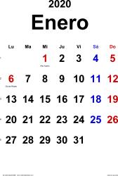 Calendario enero 2020, orientación vertical, clásico, en formatos Word, Excel y PDF