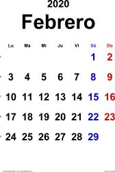 Calendario febrero 2020, orientación vertical, clásico, en formatos Word, Excel y PDF