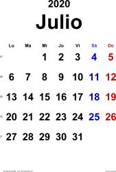 Calendario julio 2020, orientación vertical, clásico, en formatos Word, Excel y PDF