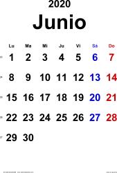 Calendario junio 2020, orientación vertical, clásico, en formatos Word, Excel y PDF