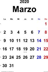 Calendario marzo 2020, orientación vertical, clásico, en formatos Word, Excel y PDF