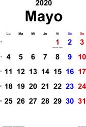 Calendario mayo 2020, orientación vertical, clásico, en formatos Word, Excel y PDF