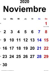Calendario noviembre 2020, orientación vertical, clásico, en formatos Word, Excel y PDF