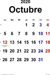 Calendario octubre 2020, orientación vertical, clásico, en formatos Word, Excel y PDF