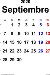 Calendario septiembre 2020, orientación vertical, clásico, en formatos Word, Excel y PDF