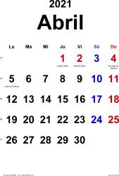 Calendario abril 2021, orientación vertical, clásico, en formatos Word, Excel y PDF