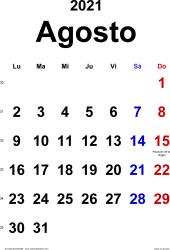 Calendario agosto 2021, orientación vertical, clásico, en formatos Word, Excel y PDF