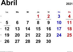 Calendario abril 2021, orientación horizontal, clásico, en formatos Word, Excel y PDF