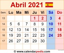 Calendario abril 2021 como una imagen en formato PNG