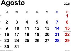Calendario agosto 2021, orientación horizontal, clásico, en formatos Word, Excel y PDF