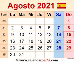 Calendario agosto 2021 como una imagen en formato PNG