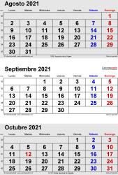 Calendario de 3 meses de agosto/septiembre/octubre 2021 in orientación vertical en formatos Word, Excel y PDF