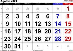 Calendario agosto 2021, orientación horizontal, grandes cifras, en formatos Word, Excel y PDF