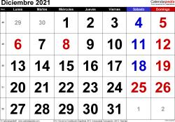 Calendario diciembre 2021, orientación horizontal, grandes cifras, en formatos Word, Excel y PDF