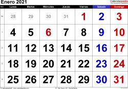 Calendario enero 2021, orientación horizontal, grandes cifras, en formatos Word, Excel y PDF